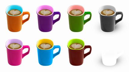 Colourful caffe latte cups