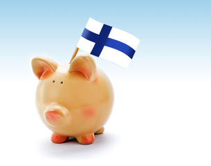 Piggy bank with national flag of Finland