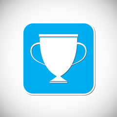 Trophy icon. Blue square frame. Vector illustration