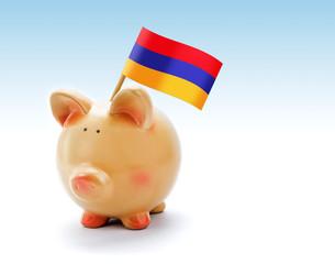 Piggy bank with national flag of Armenia