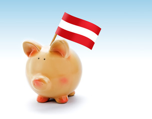 Piggy bank with national flag of Austria
