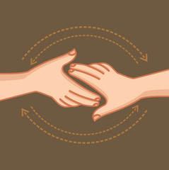 Hand shake, vector illustration.