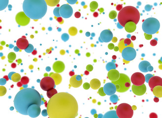 Multi color balls isolated on white background
