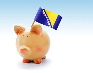Piggy bank with national flag of Bosnia and Herzegovina