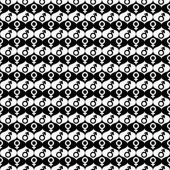 Black and White Male and Female Gender Symbol Repeat Pattern Bac