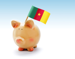 Piggy bank with national flag of Cameroon