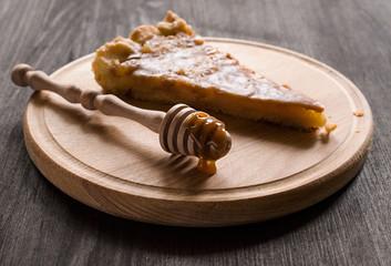Piece of homemade tart with caramel filling