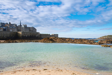 Saint-Malo old city over tidal waters ,  France