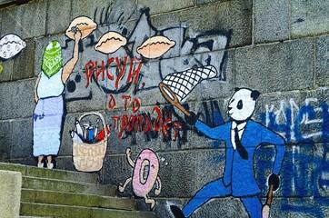 Beautiful street art graffiti.