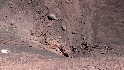 Evaporation from the crack of a lateral crater of Mount Etna
