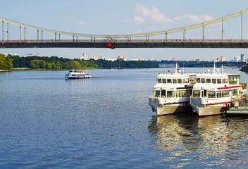 Cruise tourist ship on the Dnieper river, Kiev, Ukraine
