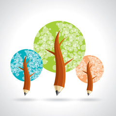 Pencil tree, about education and growing. Vector