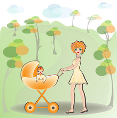 Mother walking with a baby in a stroller.1