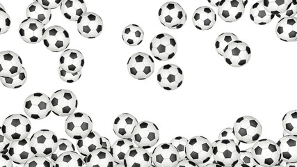 Soccer balls is falling down on white and forming a wall