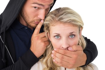 Theft covering young womans mouth