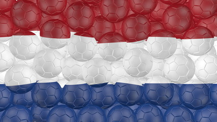 Soccer balls is falling down and forming a netherlands flag