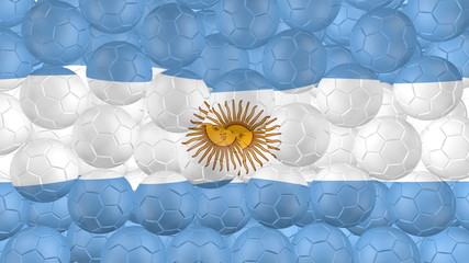 Soccer balls is falling down and forming a argentina flag