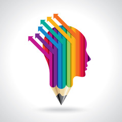 think Thoughts and options. vector illustration of head