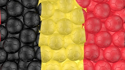 Soccer balls is falling down and forming a belgium flag