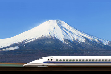 Mountain Fuji and the Shinkansen Bullet train, near Tokyo
