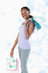 Close up of happy woman with her shopping