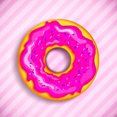pink donut with powdered