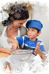 Son and mother baking together