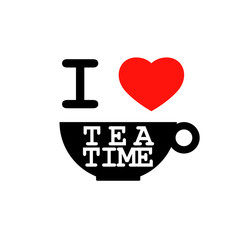 I love tea time vector illustration