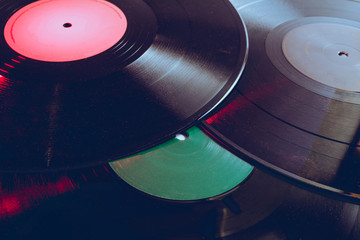 Group of vinyl with red light