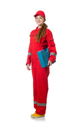 Woman construction worker in red coveralls on white