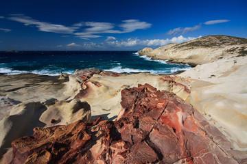 Milos island - volcanic rock formations, Cyclades, Greece.
