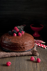 Dark chocolate cake with blackberries