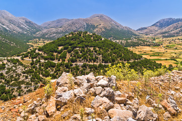 Landscape and mountains at central part of Crete island