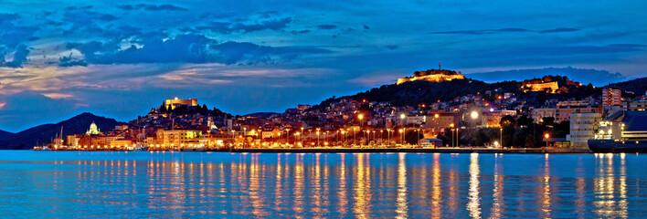 Historic Sibenik waterfront evening panorama