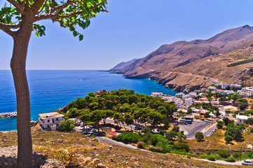 Landscape, mountains and sea at south side of Crete island