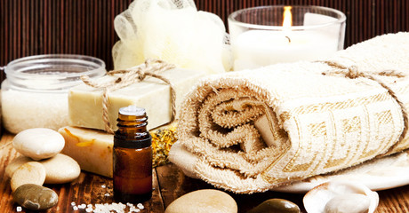 Spa.Natural soap,Essence Oil and Towel