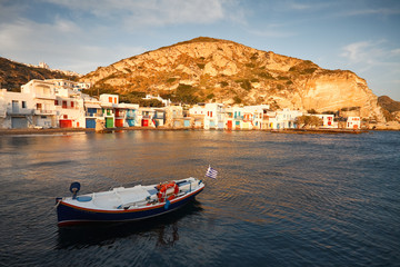 Boat houses, Milos island, Greece.