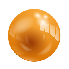 Shiny Orange Vector Ball (button icon symbol sphere globe)
