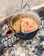 Cooking Goulash on open fire