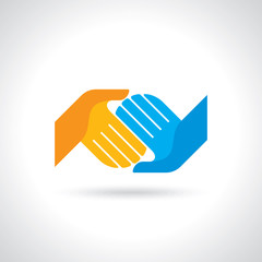 Teamwork symbol. Multicolored hands