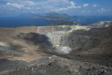volcano activity and Lipari island, eolie, sicily, italy