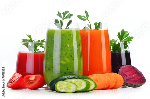 Glasses with fresh vegetable juices isolated on white - 70719355