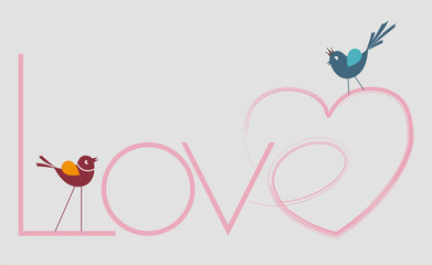 hearted love writing and birds