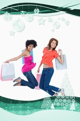 Young teenagers energetically jumping after going shopping