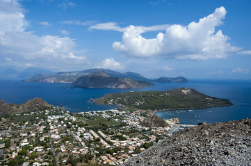 eolie island from Vulcano, messina, sicily, italy