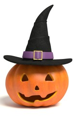3d illustration of a jack-o-lantern wearing a witch hat