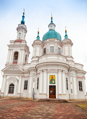 Russian Orthodox church facade. Yamburg's St.Catherine Cathedral