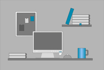 Flat design vector illustration of modern office interior with