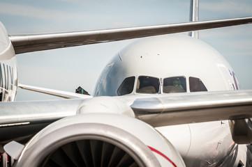 passenger jet aircraft taxiing at an airport