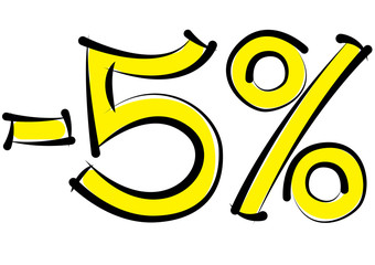 minus five percent discount on a white background